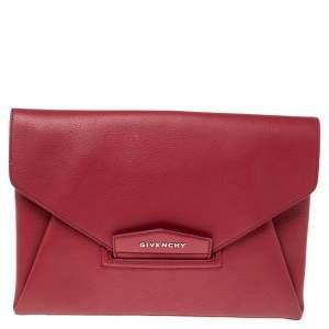 Givenchy Red Leather Antigona Envelope Clutch