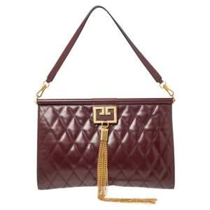 Givenchy Burgundy Quilted Leather Large Gem Shoulder Bag