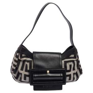 Givenchy Black Monogram Canvas and Leather Buckle Flap Hobo