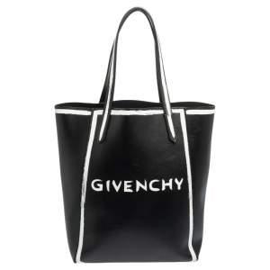 Givenchy Black/White Leather Stargate Logo Tote