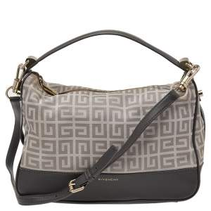 Givenchy Beige/Grey Monogram Canvas and Leather Hobo
