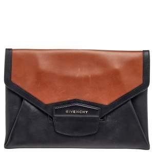 Givenchy Black/Brown Leather Antigona Envelope Clutch
