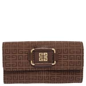 Givenchy Brown Monogram Canvas Long Trifold Wallet