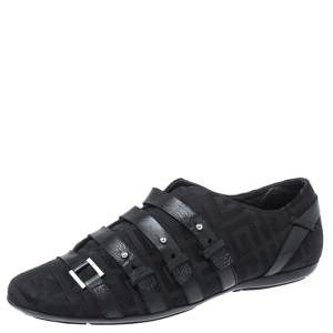 Givenchy Black Fabric and Leather Buckle Low Top Sneakers Size 38.5