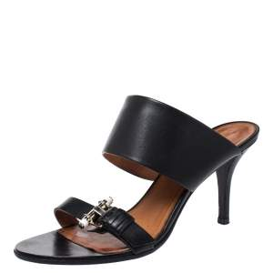 Givenchy Black Leather Obsedia Buckle Detail Slides Size 39