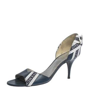 Givenchy Blue Leather And Canvas Bow Open Toe Sandals Size 38