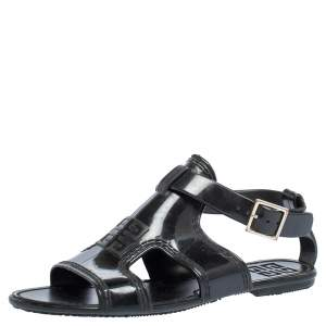 Givenchy Black Jelly Ankle Strap Flat Sandals Size 37