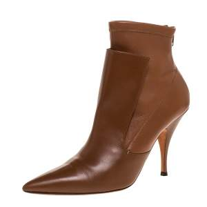 Givenchy Brown High Vamp Stretch Leather Kali Ankle Boots Size 39