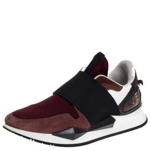 Givenchy Burgundy/Black Suede Leather And Stretch Fabric Active Low Top Sneakers Size 37