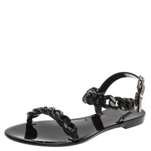 Givenchy Black Jelly Chain Flat Sandals Size 38