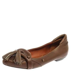 Givenchy Brown Leather Tassel Loafers Size 37.5