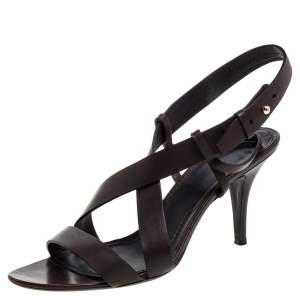 Givenchy Dark Brown Leather Ankle Strap Sandals Size 39