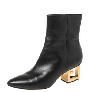 Givenchy Black Leather G Heel Ankle Boots Size 39