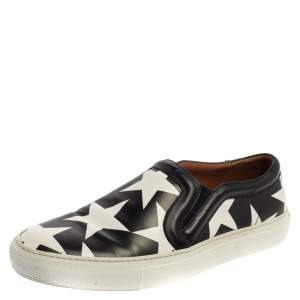Givenchy Black And White Leather Star Print Skate Slip On Sneakers Size 39