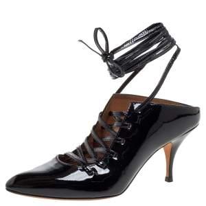 Givenchy Black Patent Leather Lace Wrap Mule Pumps Size 38