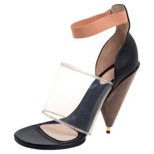 Givenchy Black Leather and PVC Albertina Sandals Size 40