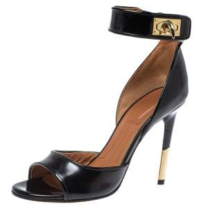 Givenchy Black Leather Sharklock Sandals Size 36