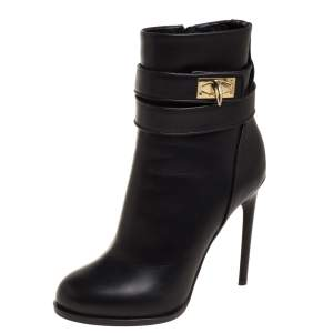 Givenchy Black Leather Shark Lock High Heel Ankle Boots Size 36