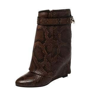 Givenchy Brown/Black Python Sharklock Ankle Boots Size 36