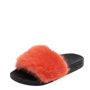 Givenchy Pink Fur Flat Slides Size 36