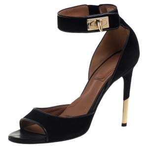 Givenchy Black Leather Shark Tooth Ankle Strap Sandals Size 39.5