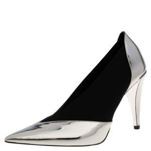 حذاء كعب عالي مقدمة مدببة مطاط و جلد أسود و فضي ميتاليك مقاس 37.5