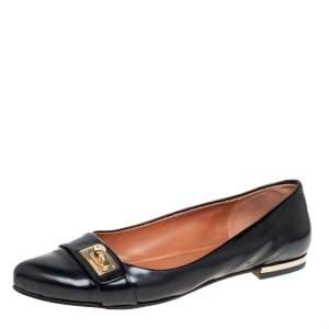 حذاء فلات باليه جيفنشى أسنان قرش جلد أسود مقاس 40