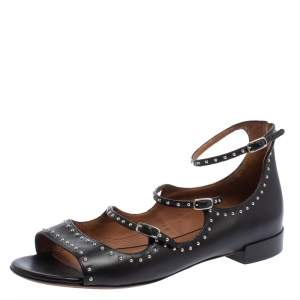 Givenchy Black Leather Studded Ankle Strap Sandals Size 41
