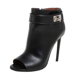 حذاء بوت كاحل جيفنشي كعب عالي قفل شارك جلد أسود مقاس 36.5