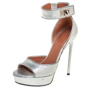 Givenchy Silver Lizard Embossed Leather Shark Lock Ankle Strap Sandals Size 36