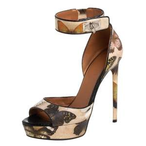 Givenchy Beige Printed Leather Shark Lock Ankle Strap Open Toe Platform Sandals Size 39
