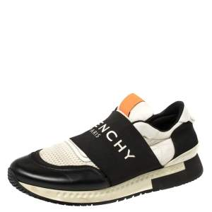 Givenchy Black/White Leather and Mesh Active Runner Slip On Sneakers Size 43