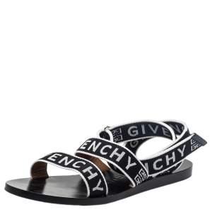 Givenchy Black/White Nylon Logo Strap Flat Ankle Wrap Sandals Size 38