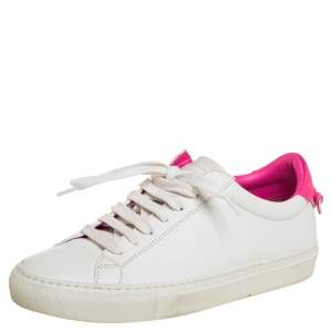 Givenchy White/Pink Leather Urban Street Knot Low Top Sneakers Size 36