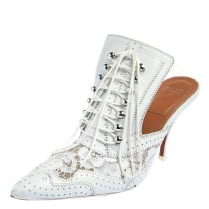 Givenchy White Brogue Leather and Lace Maremma Mules Size 37