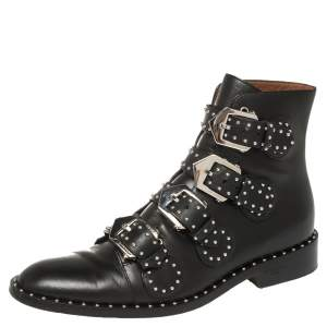 Givenchy Black Leather Multi Strap Studded Ankle Boots Size 38