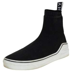 Givenchy Black Knit Fabric George V Mid Sock Sneakers Size 38