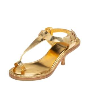 Givenchy Vintage Metallic Gold Leather Thong Slingback Sandals Size 39.5
