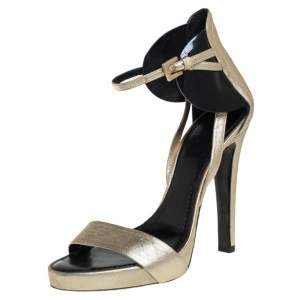 Givenchy Gold Leather Ankle Strap Sandals Size 38