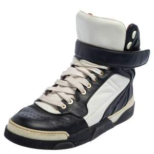 Givenchy Black/White Leather High Top Sneakers Size 38