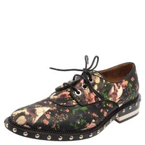 Givenchy Black Floral Print Leather Lace Up Derby Size 38