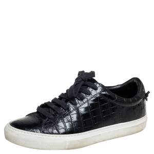 Givenchy Black Croc Embossed Leather Urban Street Sneakers Size 38