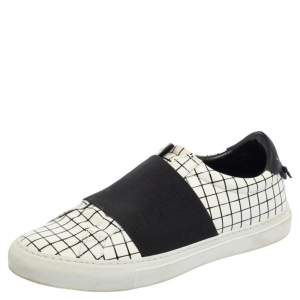 Givenchy White/Black Check Leather Urban Street Sneakers Size 38