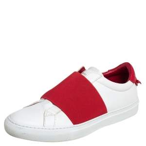 Givenchy White/Red Leather Urban Knot Elastic Slip On Sneakers Size 39