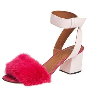 Givenchy Two Tone Pink Leather and Mink Fur Ankle Strap Sandals Size 38