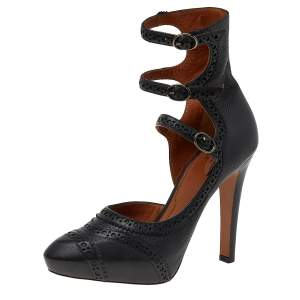 Givenchy Black Brogue Leather Platform Ankle Strap Pumps Size 38