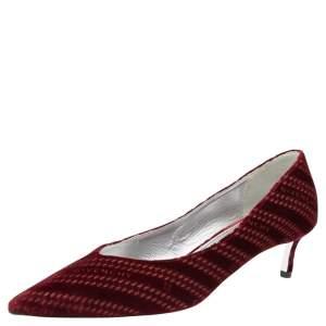 Givenchy Burgundy Velvet Pointed Toe Pumps Size 37