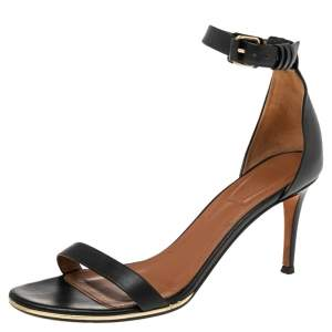 Givenchy Black Leather Ankle Cuff Sandals Size 39