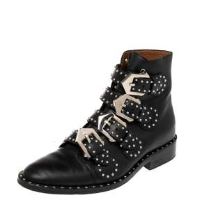 Givenchy Black Leather Studded Buckle Detail Ankle Boots Size 35