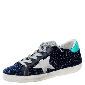 Golden Goose Deluxe Brand Blue Midnight Blue Navy Velvet Turquoise Tab Superstar Size 35
